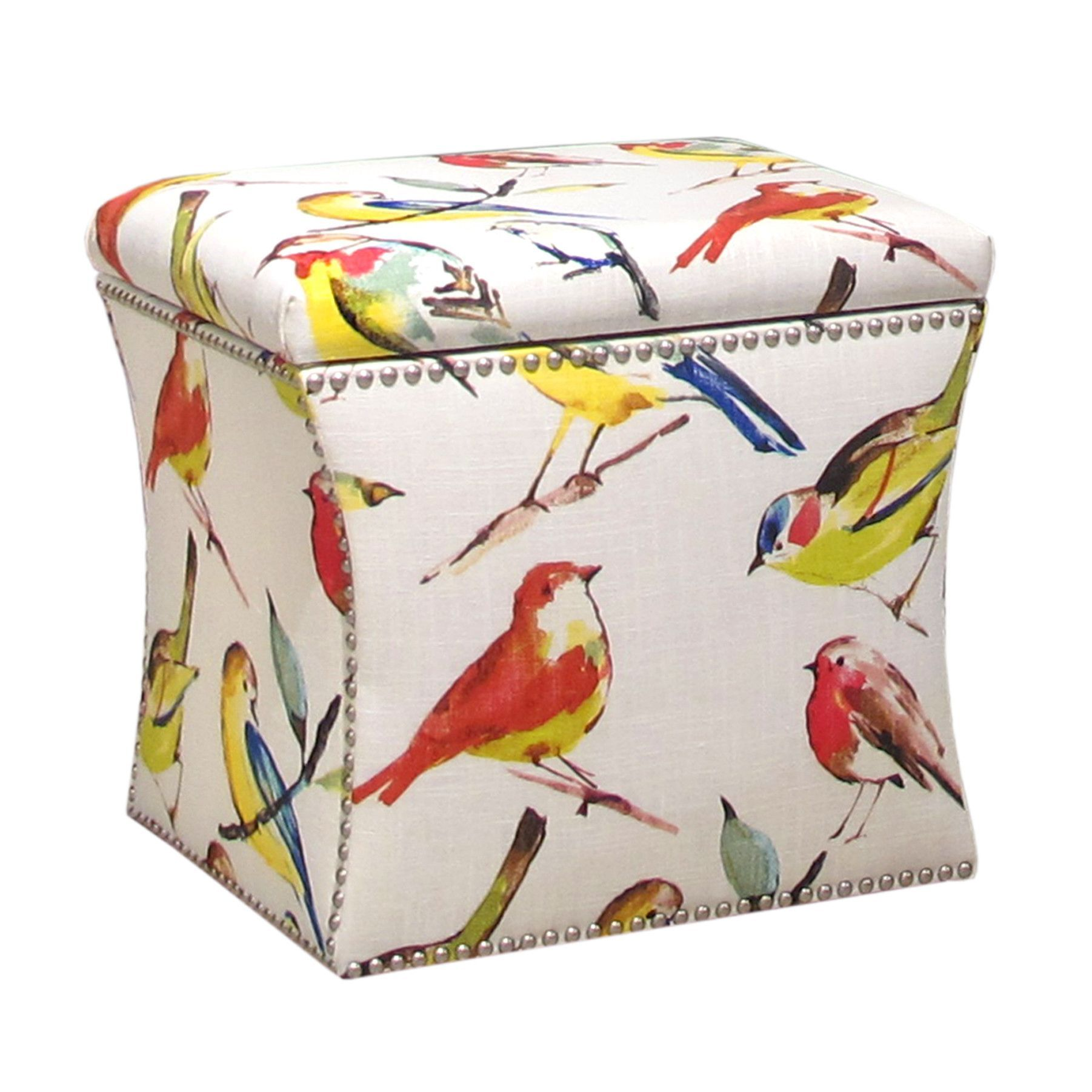 Skyline Furniture Square Nail Button Ottoman in Bird Watcher Summer