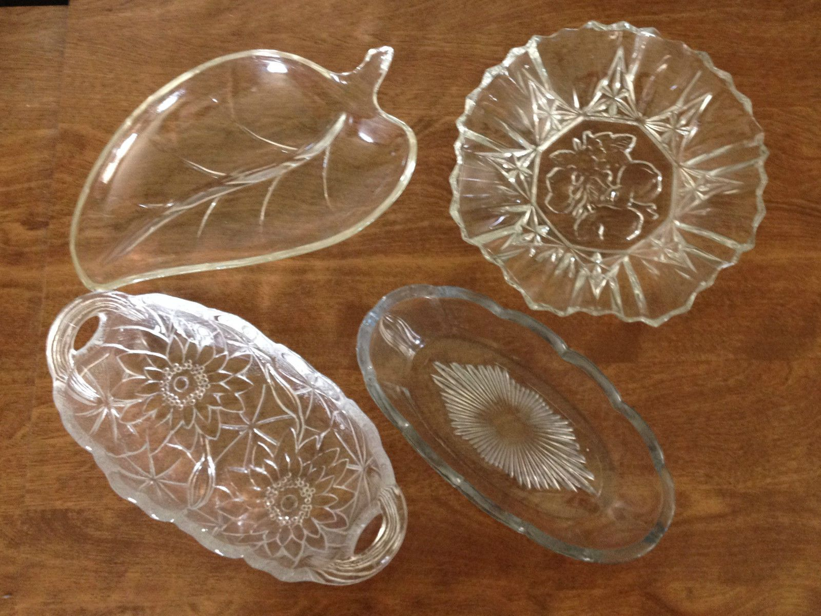 Lot of 4 Clear Glass Serving Dishes Oval w/Flowers 1 Oval w/Star 1 Round 1 Leaf  picclick.com