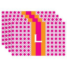 Letters will be printed in the order in which they are provided. For customization of three characters, middle character will be larger.  Set of four laminated cotton placemats with a geometric motif and monogrammed detail.Product: Set of 4 placematsConstruction Material: Laminate covered cottonColor: Hot pink and pumpkin Dimensions: 11.5 H x 17.5 W each