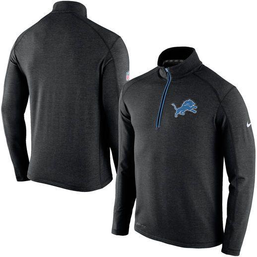 Nike Detroit Lions Black Game Day Half-Zip Knit Performance Tri-Blend Jacket