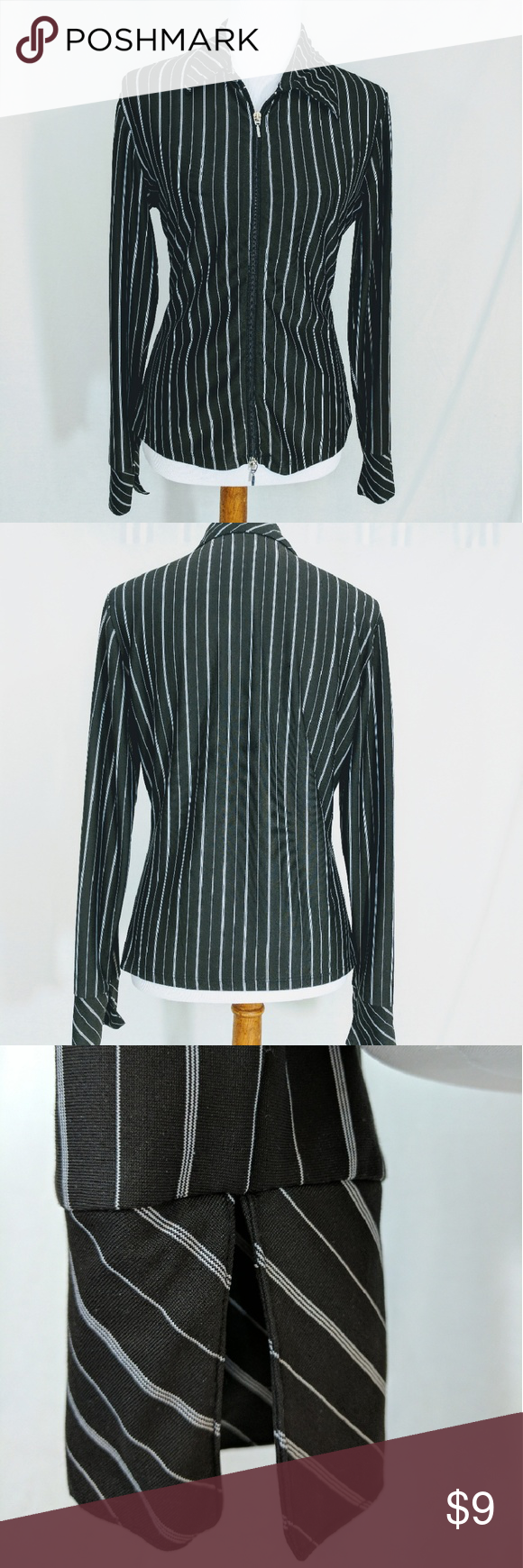 Zip-front black/white pinstripe blouse Up/Down Zip front,  B&W poly collared top.  French Cuffs.  Wear to work or to Motorhead show- easy care and looks good all of the time. Langenis. Tops Blouses