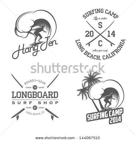 Set Of Vintage Mm Matt Morre Surfing Labels And Badges Vector