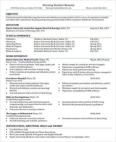 sample nursing assistant resume examples word pdf cna samples - sample nursing student resume
