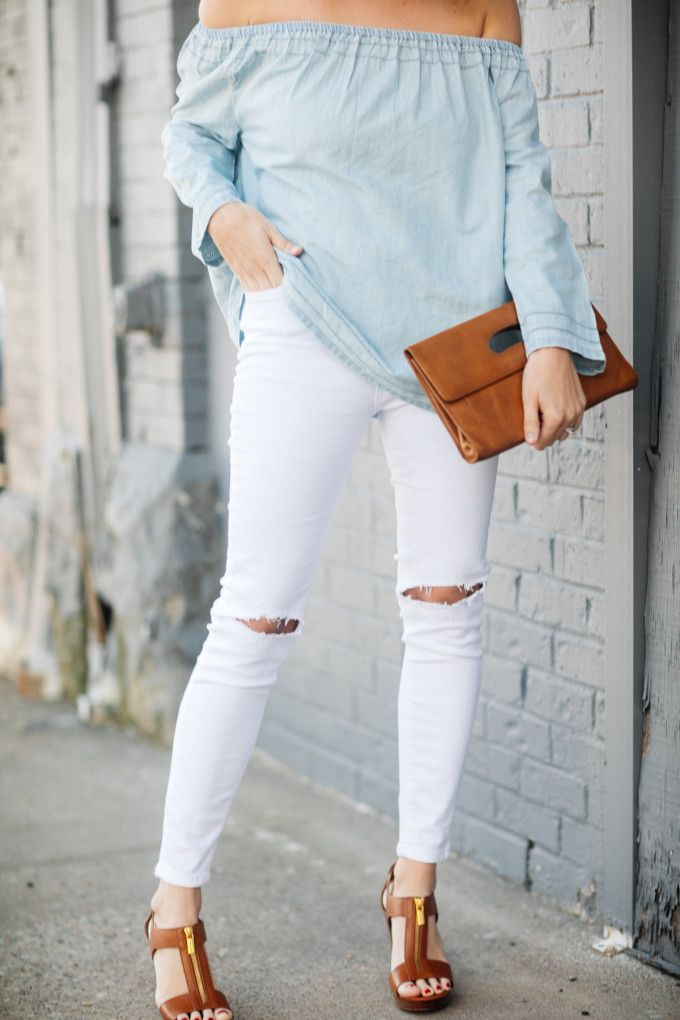 Spring neutrals accented with cognac accessories. #gap #nordstrom #michaelkors #whitejeans