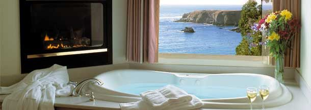 The North Cliff Hotel Ft Bragg Ca A View Of Pacific Spa Tub And Fireplace Just Add Gl Wine I D Be In Absolute Heaven