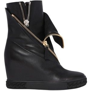 Casadei 80MM ZIPPED LEATHER WEDGED SNEAKERS BrHejpuBN