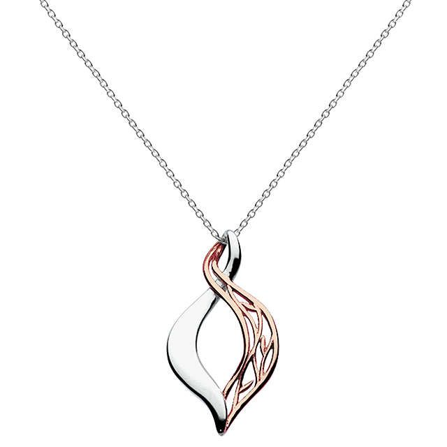 BuyKit Heath Rose Gold Vermeil Grace Pendant Necklace, Rose Gold/Silver Online at johnlewis.com