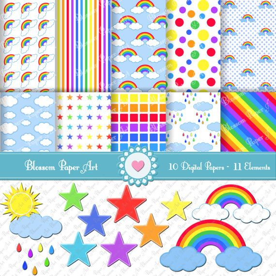 Rainbow Digital Scrapbooking Paper, Printables Rainbow ...