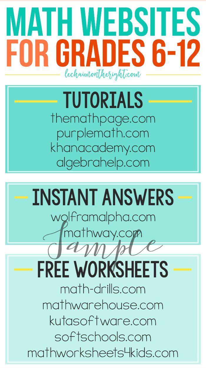 Sample Math Websites for Grades 6-12   School Ideas   Pinterest ...