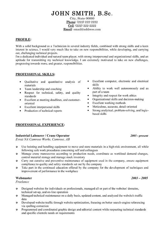 Click Here to Download this Industrial Labourer Resume Template - technical support assistant sample resume