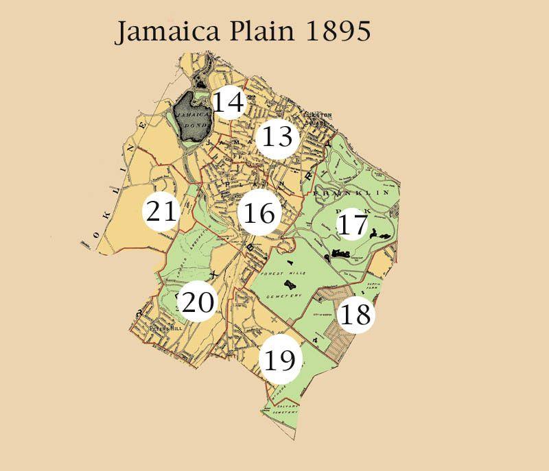 Antique Map Jamaica Plain Massachusetts Heritage
