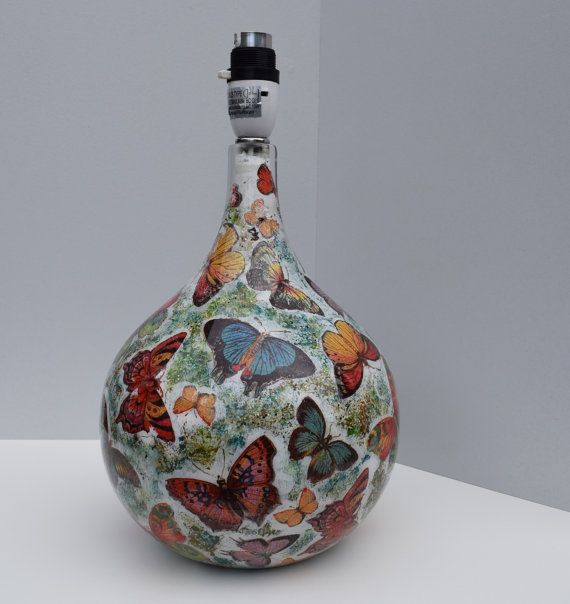Glass Lamp Base Decoupaged Lamp Base Butterflies Lamp by
