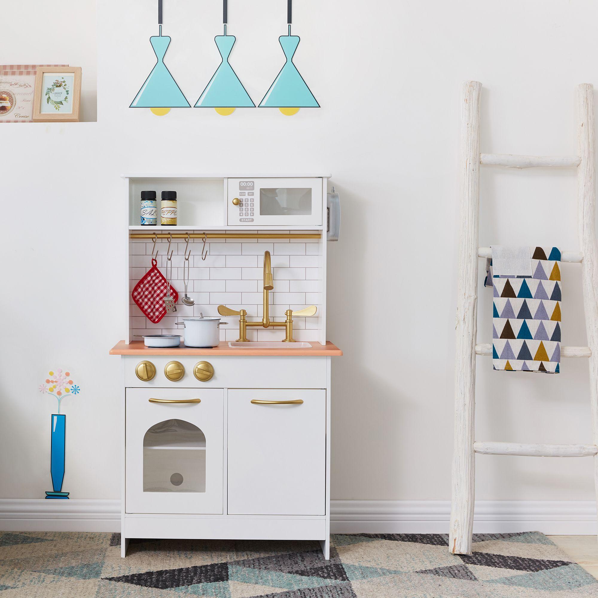 Teamson Kids Little Chef Boston Modern Play Kitchen White Wood Walmart Com Wooden Play Kitchen Play Kitchen Sets Kids Play Kitchen