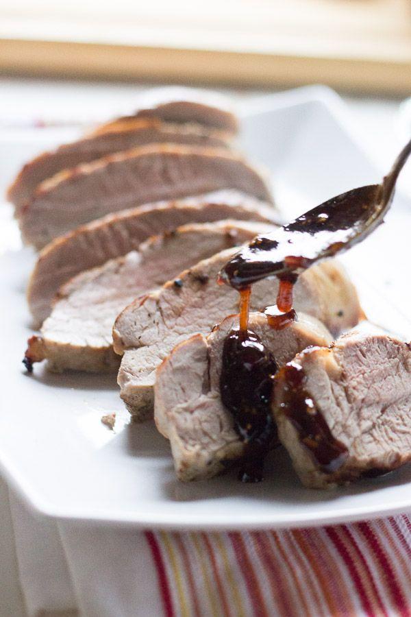Oven roasted pork tenderloin is served with a tangy, sweet balsamic fig sauce! lemonsforlulu.com