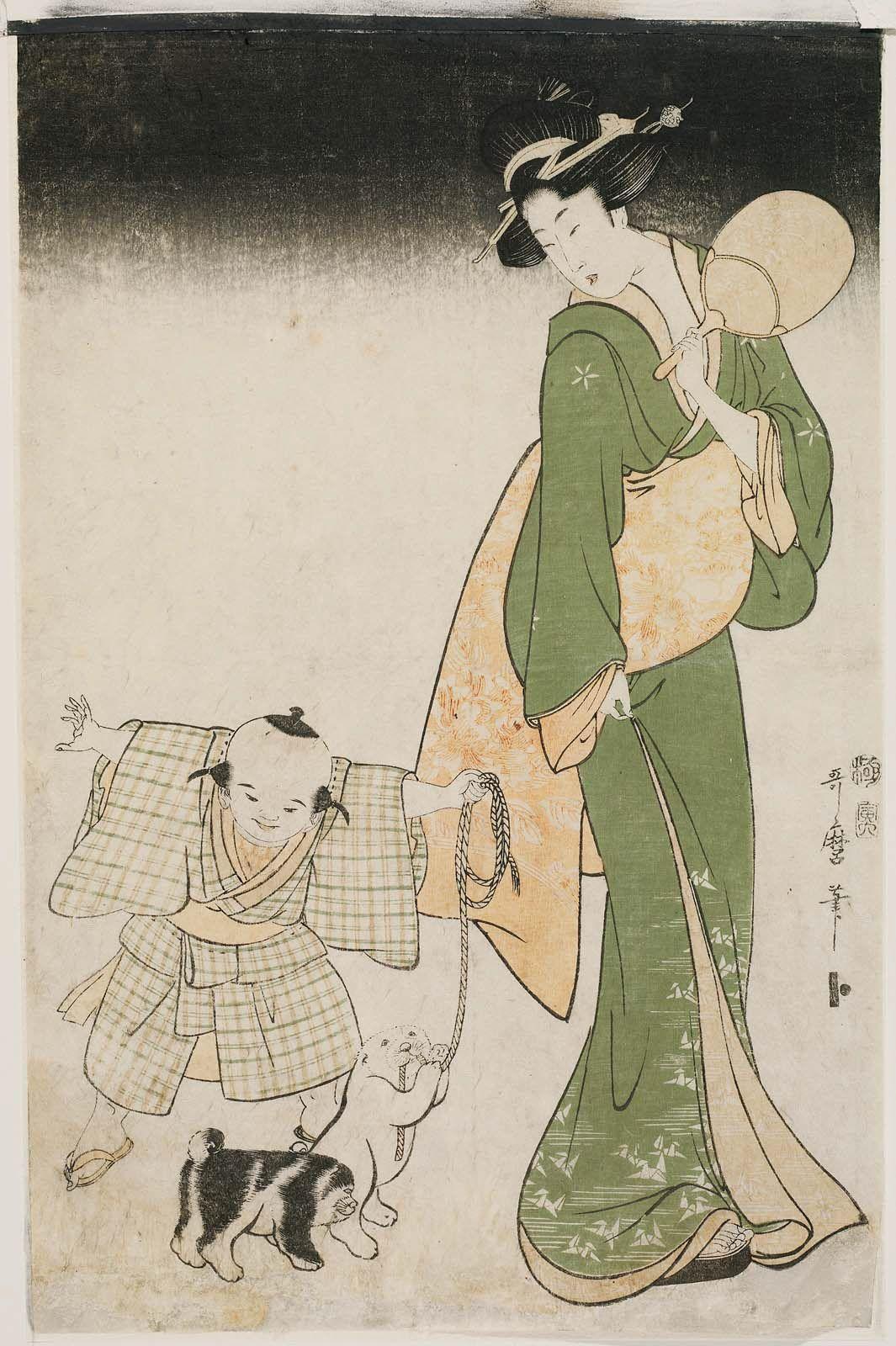 Mother and Child with Two Puppies on a Summer Night 夏の宵 Japanese Edo period 1806 (Bunka 3), 6th month Artist Kitagawa Utamaro I (Japanese, (?)–1806),