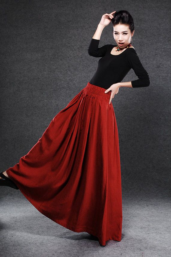Red Linen Maxi Skirt - Dark Red Full Long Skirt with Elasticated ...