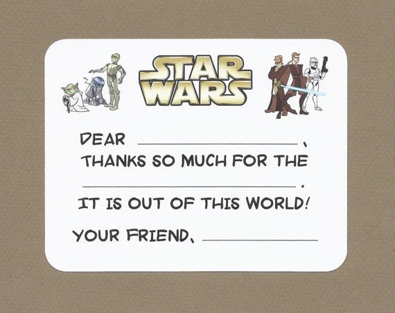 Star Wars Fill in the Blank Thank You Notes - May the Force be with ...