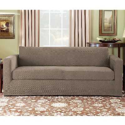 Stretch Pique 3 Piece Sofa Slipcover Taupe Brown Sure Fit