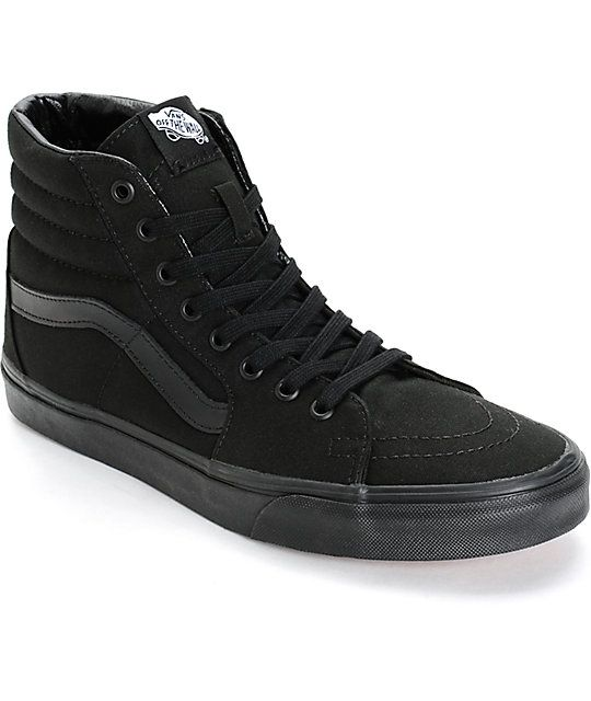 7ed49b8855 Cop classic style in a monotone all black canvas high top upper and a  classic Vans waffle tread pattern for excellent grip.