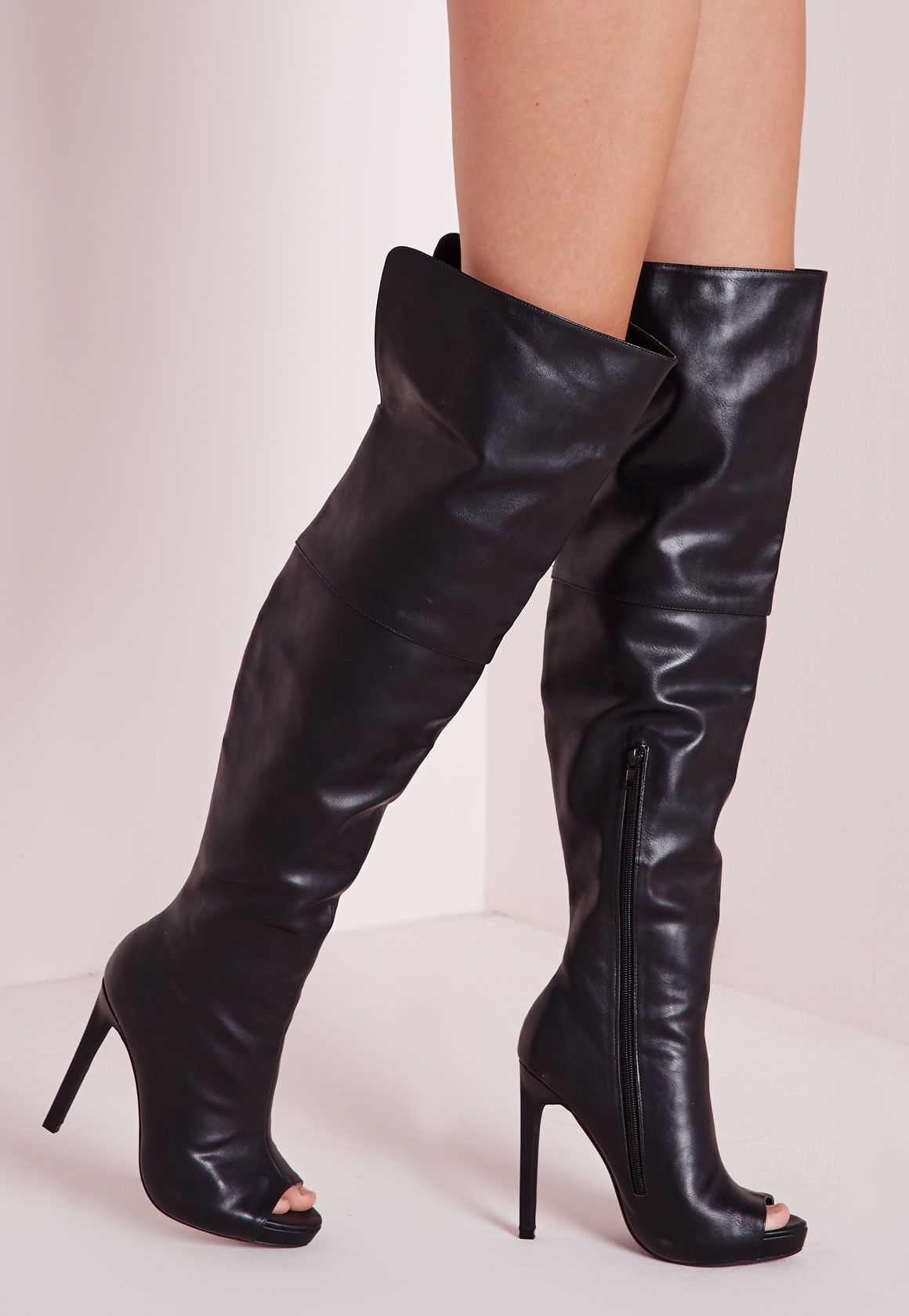 a9025081fe0 Missguided - Faux Leather Thigh High Peep Toe Boots Black ...