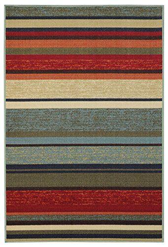 Rubber Back Multicolor Stripes Non Slip Non Skid Area Rug 3 3 X