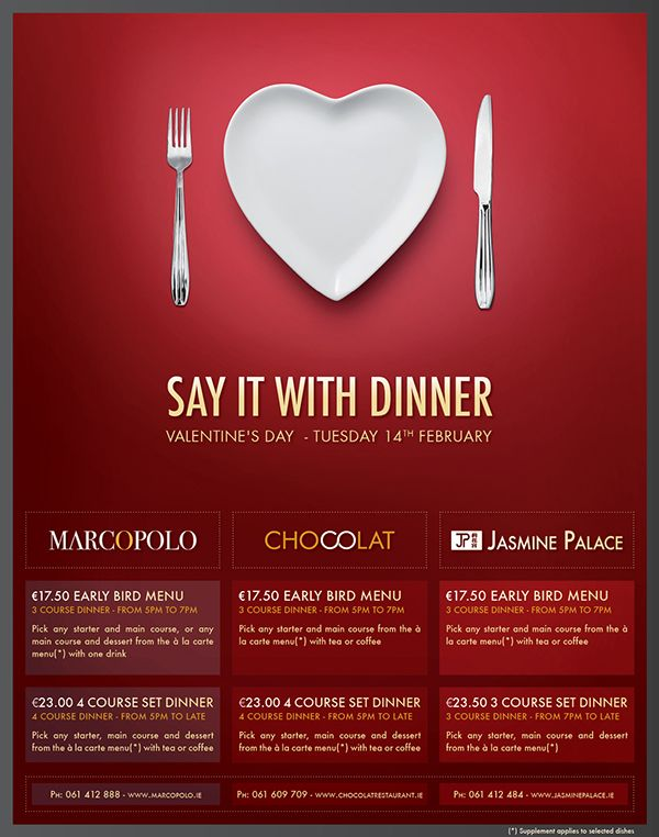 Restaurant Print Advertisement Valentines Day On Behance Poster