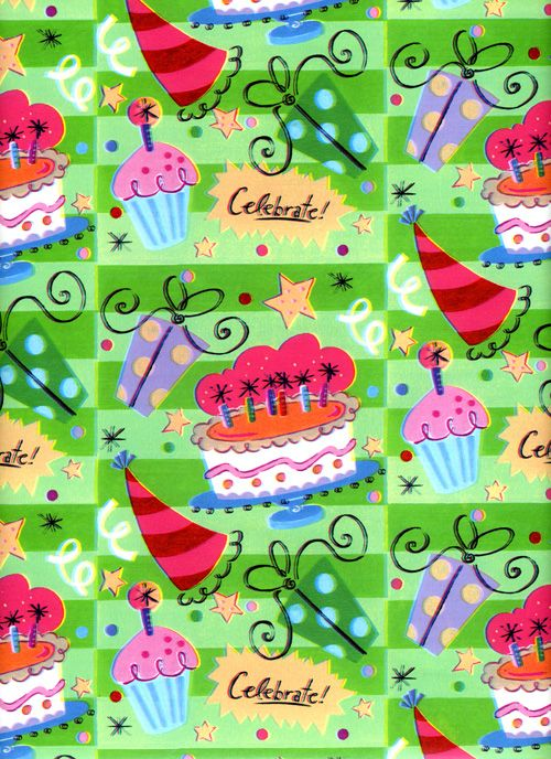 childrens happy birthday cake design gift wrapping paper