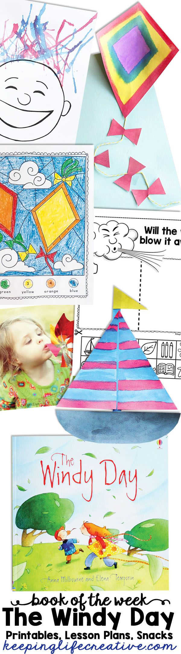 Printable activities, lesson plans, and snack ideas to compliment The Windy Day by Anna Milbourne. Such a fun way to teach kids about the wind this spring!