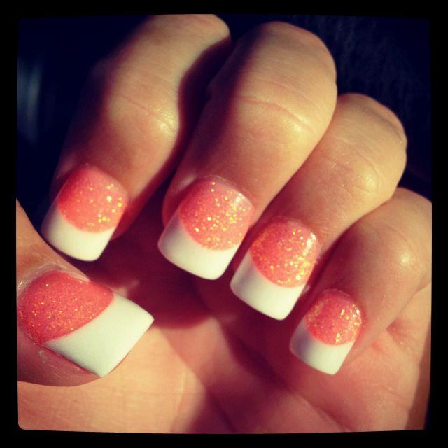 hot pink glitter white tips! <3