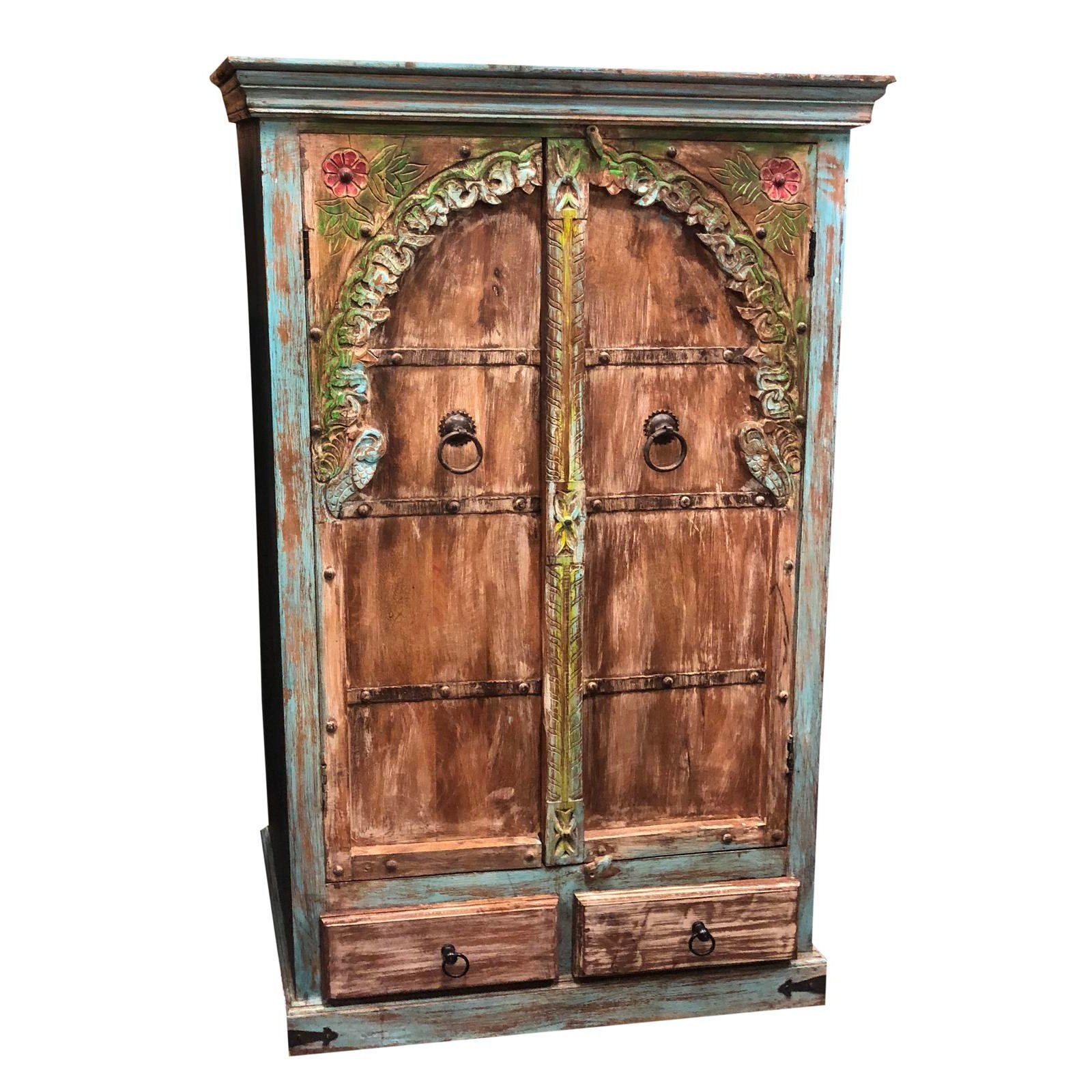 1920s Mediterranean Arch Armoire Indian Handcarved Cabinet