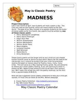 Use this project description and calendar to guide you as you create a fun and manageable way to 1) assess student oral reading fluency 2) expose students to classic poets/poemsand 3) have fun all at the SAME time.
