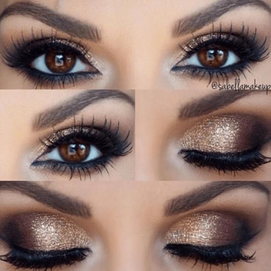 5 Ways To Make Brown Eyes Pop Brown Eyes Pop Holiday Makeup Looks Gold Smokey Eye