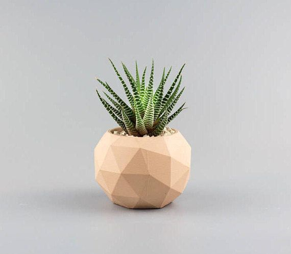 Modern Handcrafted Geometric Geodesic Concrete Planter In Light