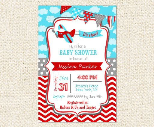 Airplane Baby Shower Invitations By LollipopPrints On Etsy