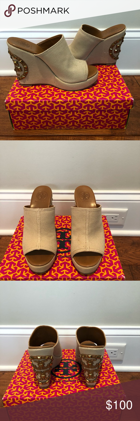 a468b002e2e Tory Burch Meredith Wedge Sandal Tory Burch Meredith Light Brown Canvas  Wedge Sandal with Studded Accents on back heels. Size 7.5 EXCELLENT  Condition.