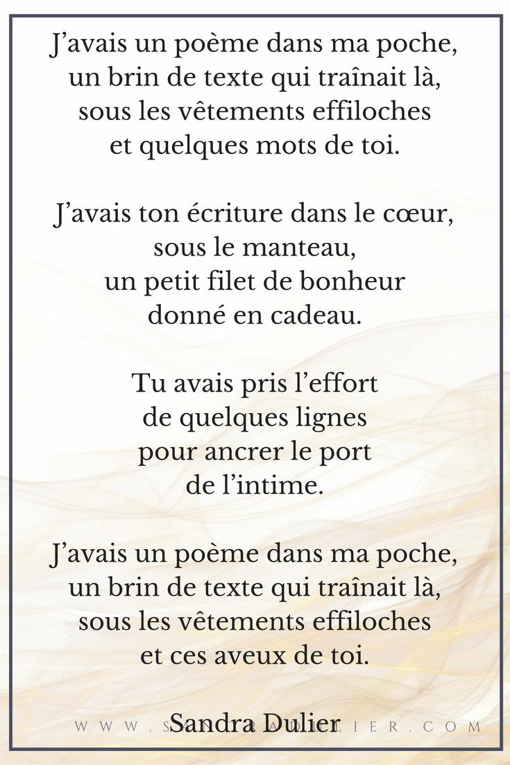 J'avais un poème - citation - poésie - amour - correspondances - Sandra Dulier