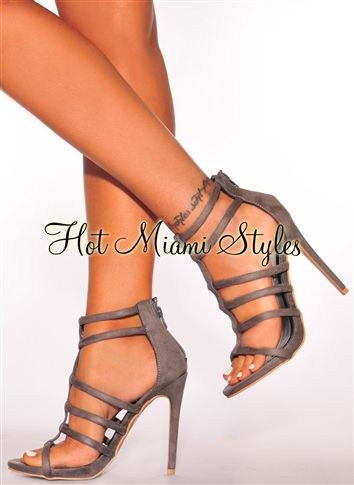 8b2220a4636 Gray Faux Suede Strappy High Heels in 2019