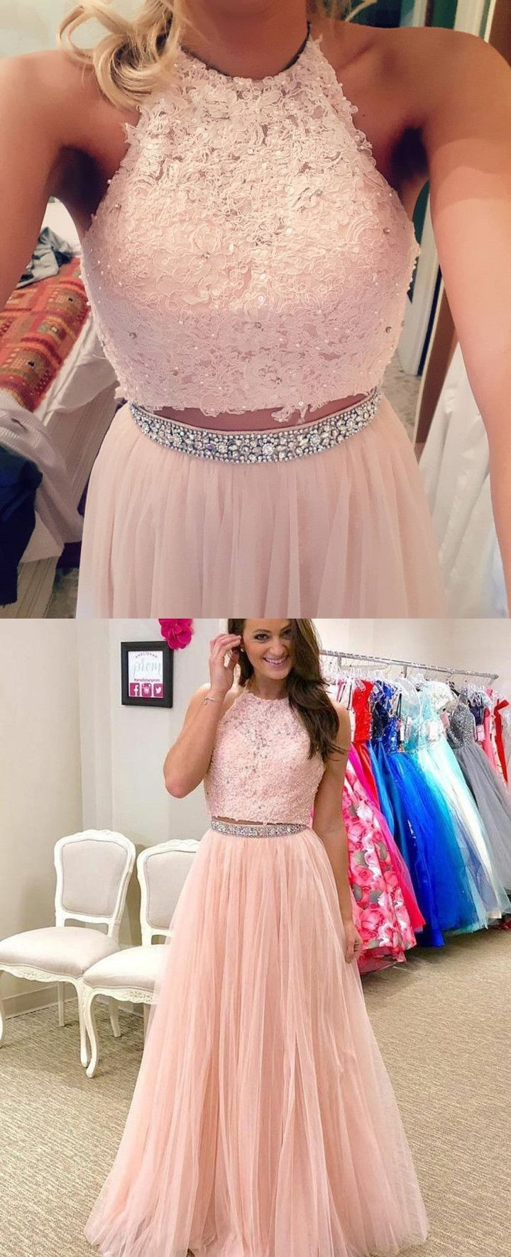 Gorgeous two piece pink long prom dress party dress prom dresses