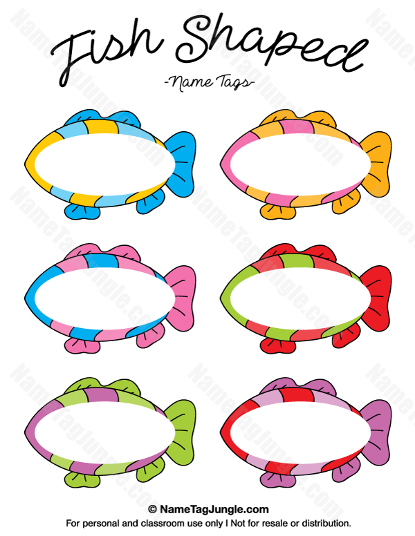 Free printable fish shaped name tags the template can for Cute names for fish