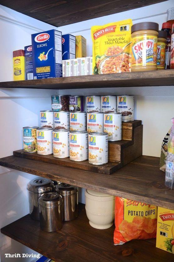 DIY Can Food Organizer With Hidden Storage Underneath #pantryshelving