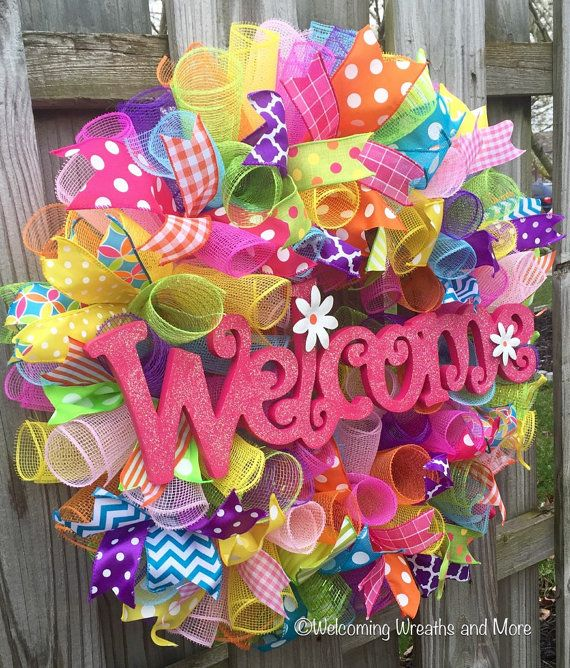 Welcome Wreath, Spring Deco Mesh Wreath, Spring Welcome Wreath, Summer Wreath, Colorful Mesh Wreath