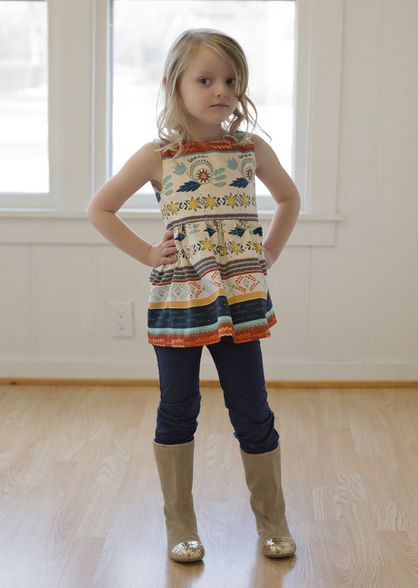 Beautiful, easy and modern child sewing PDF patterns Molly's scoop back open back summer spring beach tunic tank top  girls 2t-12