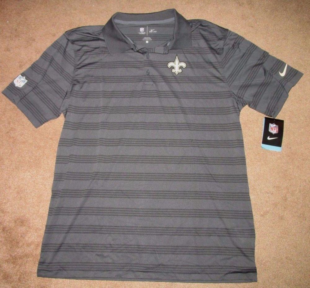 Saints Polo Fit Anthracite Nike L Orleans Dri Mens Striped Shirt New EQxoerdBWC