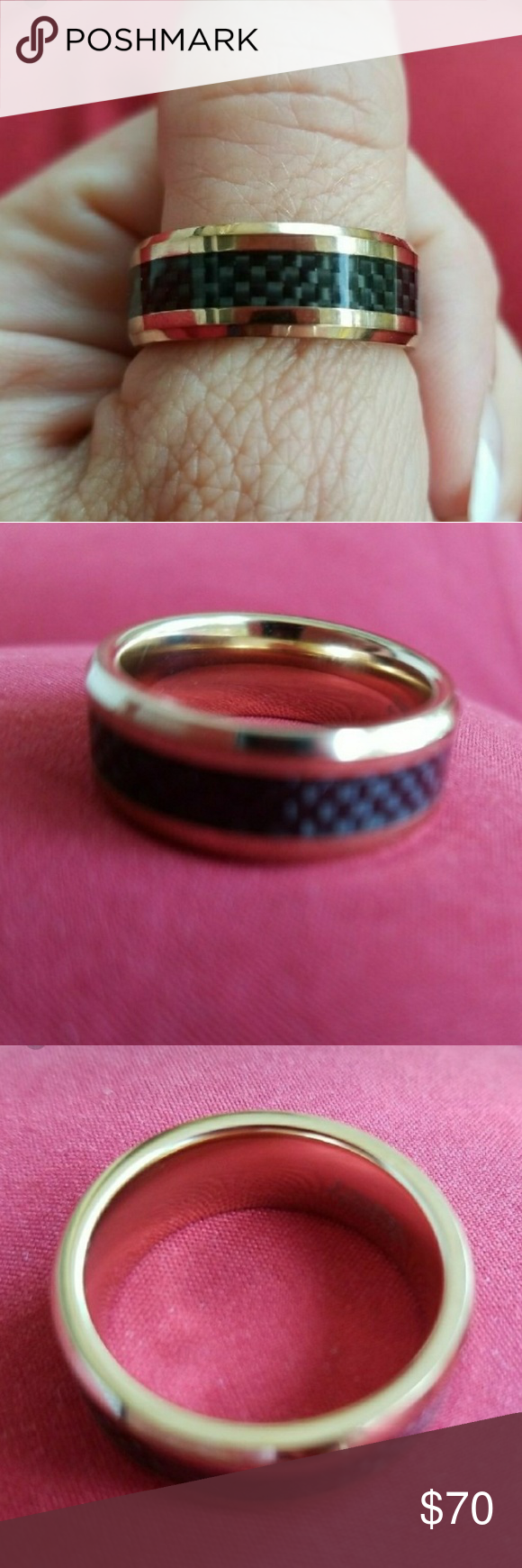 Wedding Band 24k Rose Gold Titanium