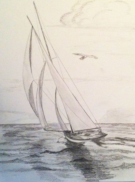 Three Sails Sailboat Original Pencil Drawing | Coloured pencil ...
