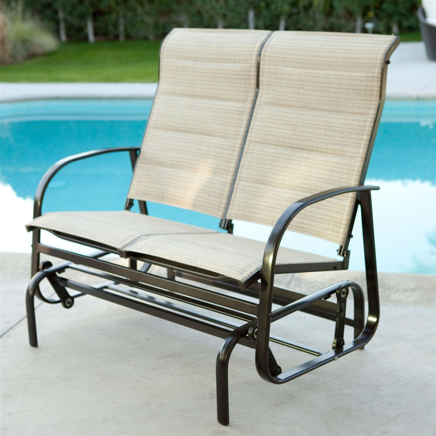 Outdoor Glider Patio Chair Loveseat With Padded Sling Seats In Beach Color Outdoor Glider