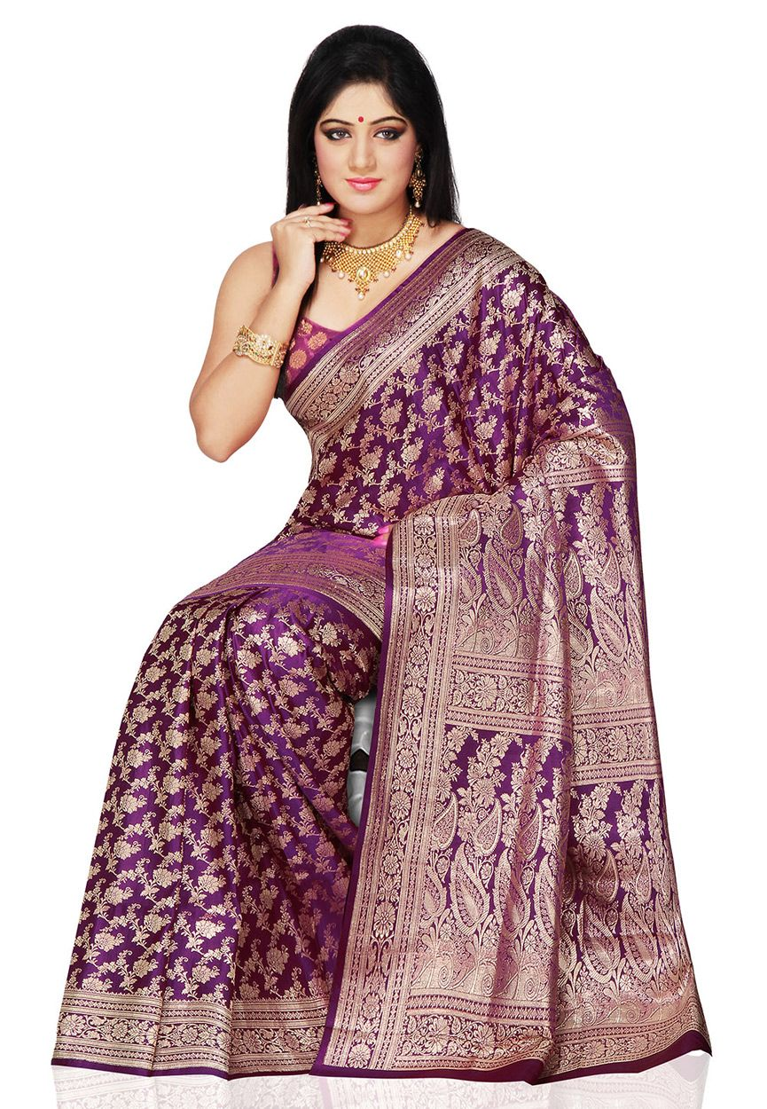 e16759bcff0a36 Dark Purple Pure Banarasi Silk Saree with Blouse  SAU635