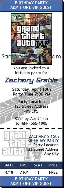Grand Theft Auto Birthday Party Ticket Invitation - party ticket invitations