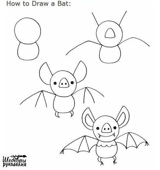 how to draw bat blue tadpole studio - Easy Halloween Drawings For Kids