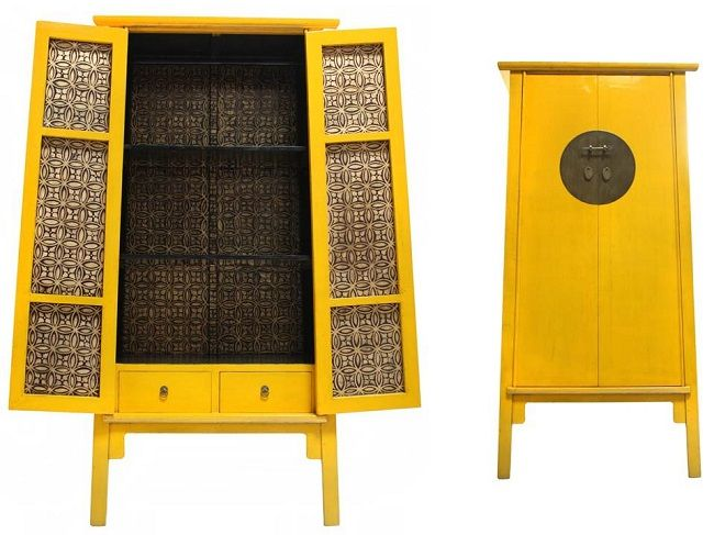 Very best Chinese furniture, imperial yellow storage cabinet perhaps tea  JI33